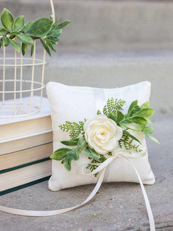 Flower Girl Basket and Pillow Set | Flower Girl Set | Ivory Metal Basket | Boho Flower Girl | Wedding Basket | Greenery Basket | Bridal Gift