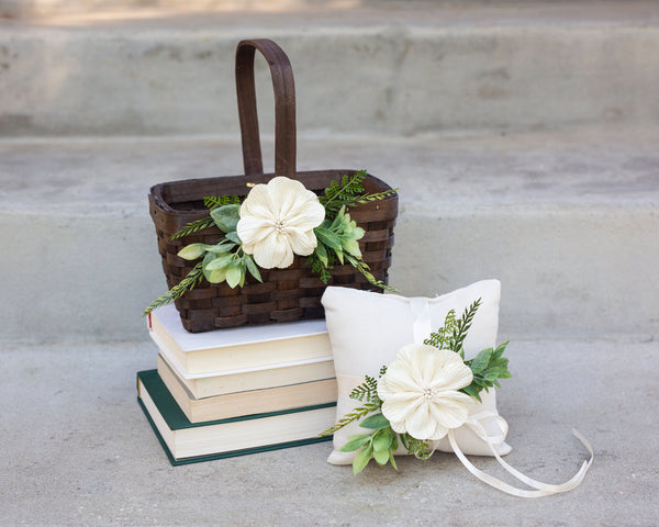 Rustic Flower Girl Basket and Pillow Set