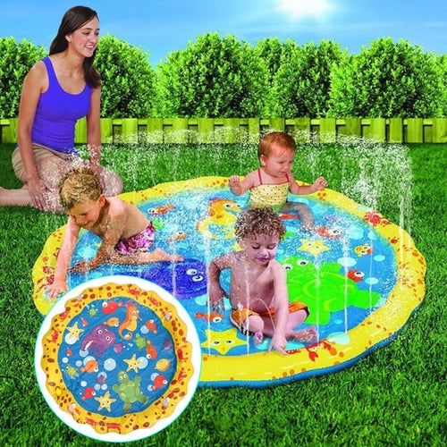 100cm Summer Children's Outdoor Play Water Games Beach Mat Lawn Inflatable Sprinkler Cushion