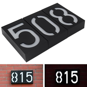 House Number with Solar Light LED Bulb Digital Solar Powered Lamp Wall Mount With Battery