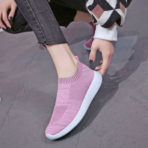Unisex Mesh Breathable Sneakers Slip On Flats Shoes