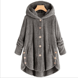 Oversize Hooded Button-Up Fleece