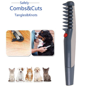 Electric Dog Cat Grooming Comb Pet Hair Scissor Trimmer Tangles Tool