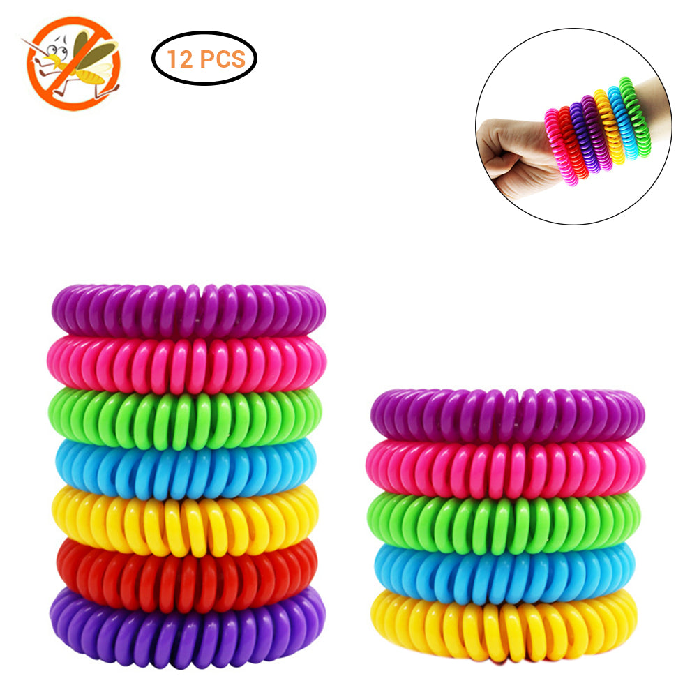 12Pcs Natural Safe Mosquito Repellent Bracelet Waterproof Spiral Wrist Band