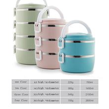 Load image into Gallery viewer, Multi-layer insulated lunch box stainless steel large capacity round lunch box student lunch box office lunch box picnic supplies