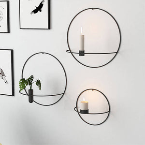 Geometric Wall Mounted Candle Holder Metal Tea Light Home Decor Candlestick