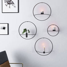Load image into Gallery viewer, Geometric Wall Mounted Candle Holder Metal Tea Light Home Decor Candlestick