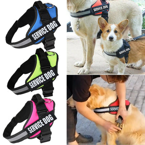 Adjustable Service Dog Harness Vest Patches Reflective Small Large Medium