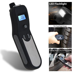 Digital Tire Pressure Gauge Car Meter Flashlight Air Release Inflator Tread