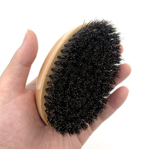 Men Boar Bristle Beard Brush Moustache Wood Round Handle Mens Beard Brush