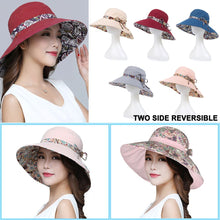 Load image into Gallery viewer, Women Summer Big Wide Brim Cotton Hat Floppy Derby Beach Sun Foldable Cap
