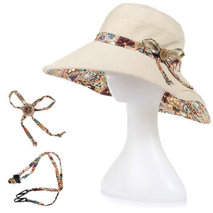 Women Summer Big Wide Brim Cotton Hat Floppy Derby Beach Sun Foldable Cap