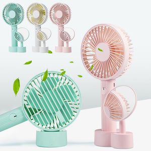 Handheld Fan USB Rechargeable Electric Mini Portable Fan With Makeup Mirror