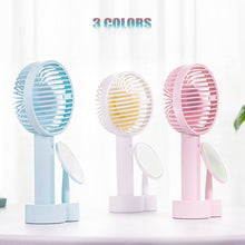 Load image into Gallery viewer, Handheld Fan USB Rechargeable Electric Mini Portable Fan With Makeup Mirror
