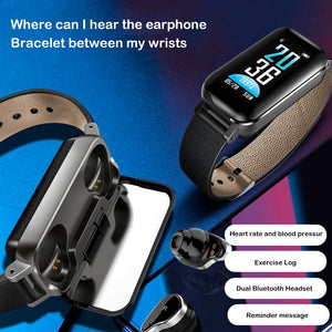 T89 TWS Smart Watch Bracelet headphone Heart Rate For Android iOS