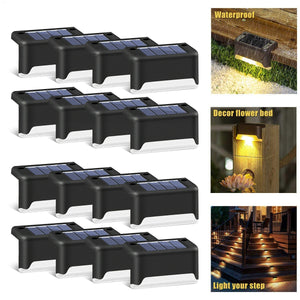 LED Outdoor Waterproof Wall Light Garden Landscape Step Stair Deck Lights Balcony Fence Solar Light