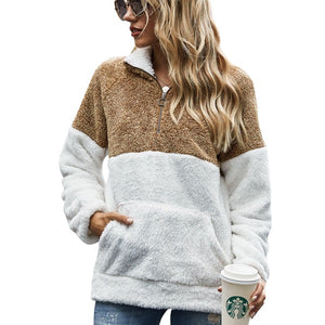 Winter Fleece Sweater Fashion Leopard Patchwork Fluffy Thick Sweaters