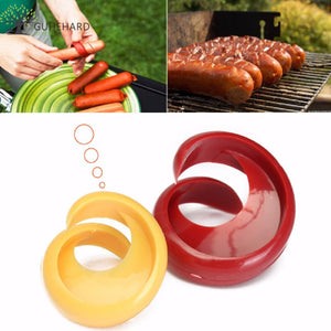 2 PCs Manual Fancy Sausage Cutter Spiral Barbecue Hot Dogs Cutter Slicer