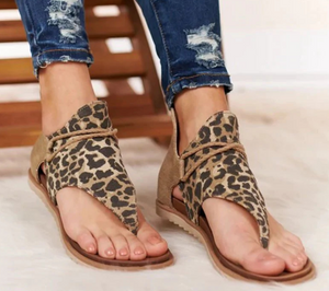 Women Anti-slip Sandals Leopard Pattern Large Size Rome Sandals
