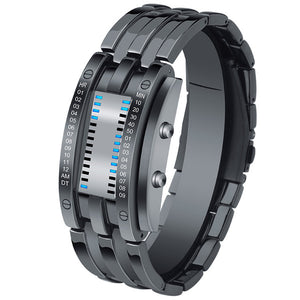 Creative Sport Watch Men Stainless Steel Strap LED Display Watches