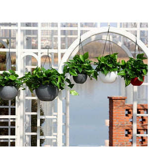 Plastic Self Watering Hanging Planter Basket Garden Flower Plant Hanger for Indoor Outdoor Use