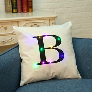 26 Letter Color Lighting LED Cushion Cover Home Decor Throw Pillowcase