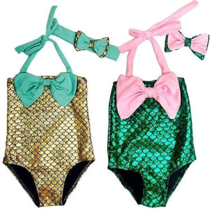 2 Pcs/ Set Swimwear+ Hairband Girls Mermaid Bikini Set Swimwear Swimsuit Bathing Suit Costume Kids Toddler Girls Bathing Suits