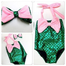 Load image into Gallery viewer, 2 Pcs/ Set Swimwear+ Hairband Girls Mermaid Bikini Set Swimwear Swimsuit Bathing Suit Costume Kids Toddler Girls Bathing Suits