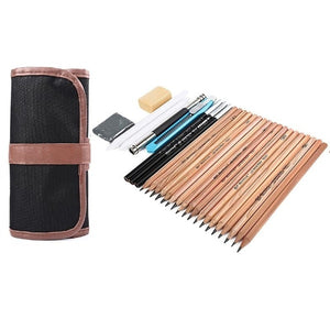 18pcs/set Sketch Tool Kits Pencils Charcoal Extender Paper Pen Cutter Eraser Drawing Set