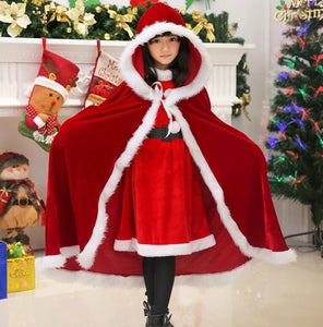 Romantic Christmas Cosplay Women Red Temptation Unique Cloak Stage Party Costume