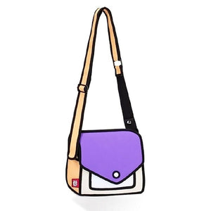 2D Bags Gents and Lady Novelty Messenger Bag Unique Cartoon 3D Comic Handbags