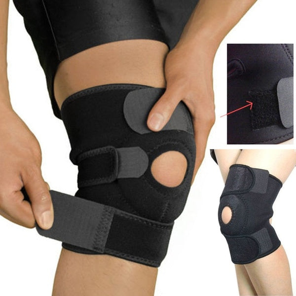 1pc Adjustable Strap Elastic Patella Sports Support Brace Black Neoprene Knee