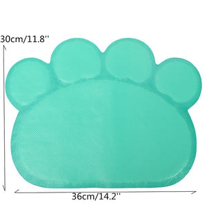 Cute Footprint Pet Dog Cat Puppy PVC Placemat Dish Bowl Feeding Food Mat Litter Tray Wipe Clean Pad