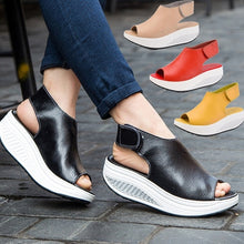 Load image into Gallery viewer, Summer Women Velcro Sandles Fish Mouth Wedges Shoes Ladies Leather Shake Shoes