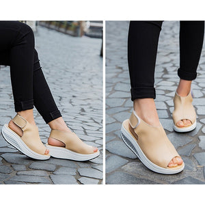 Summer Women Velcro Sandles Fish Mouth Wedges Shoes Ladies Leather Shake Shoes