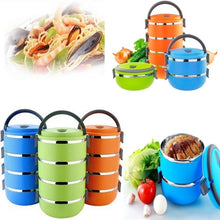 Load image into Gallery viewer, Thermal Insulated Lunch Box Picnic Storage Mess Tin Food Jar Multi layer Stainless Steel For Students Outdoor Camping