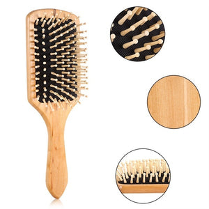 Natural Wooden Massage Comb Hair Scalp Health Care Paddle Hairbrush Tool
