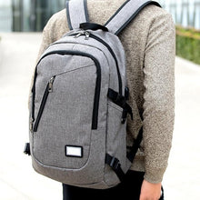 Load image into Gallery viewer, Men Fashion Business Laptop Backpack Student Notebook School Bag with USB Port
