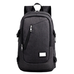 Men Fashion Business Laptop Backpack Student Notebook School Bag with USB Port