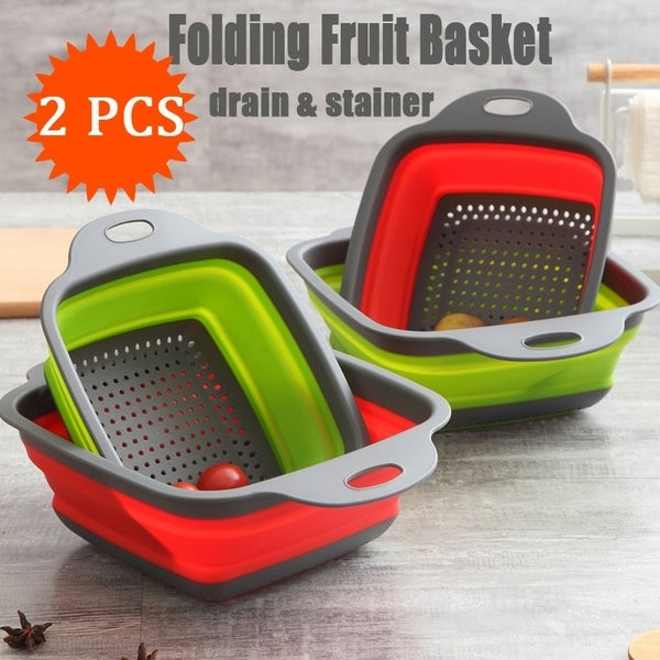 2PCS Home Kitchen Fruit Vegetable Washing Drain Basket Foldable Collapsible Colander Strainer Bowl
