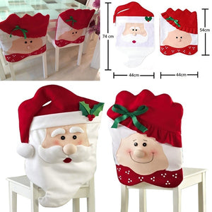 Mrs & Mr Santa Claus Christmas Dinner Banquet Chair Back Cover Xmas Decor