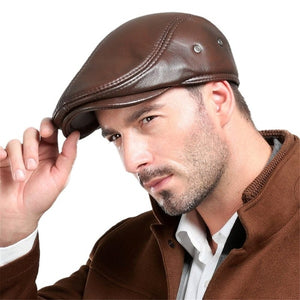Men's Real Cowhide Leather Beret Hunting Cap Beanie Trucker Cap Mens Sports Hat