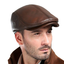 Load image into Gallery viewer, Men's Real Cowhide Leather Beret Hunting Cap Beanie Trucker Cap Mens Sports Hat