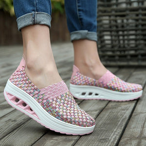 Women Fashion Handmade Sport Slim Sneaker Breathable Thick Bottom Non-slip Light Braided Shoes