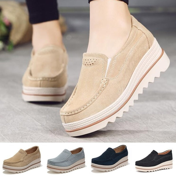 Women flat shoes thick soled platform shoes leather suede casual shoes slip on flats creepers