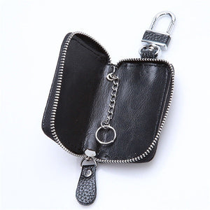 Auto Car Key Leather Case Pouch Remote Keychain Key Bag Holder Organizer