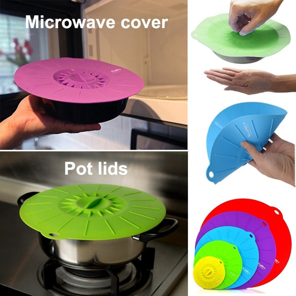 Set of 5 silicone Microwave bowl cover cooking pot pan lid Cover-Silicone food wrap cooking tools