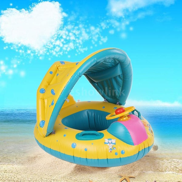 Summer Baby Kids Swim Ring Seat Float Boat Inflatable Trainer Pool
