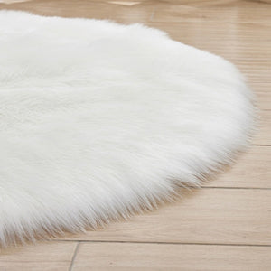 Fluffy Round Rug Artificial Wool Floor Carpet Home Decor