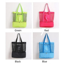 Load image into Gallery viewer, Portable Insulated Cooler Bag Food Picnic Beach Mesh Bags Cooler Tote Waterproof Bags